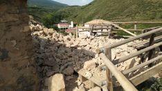 Derrumbe de la muralla del castillo de Vozmediano. Cedidas.