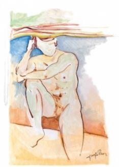 La portada del libro es un dibujo de un desnudo de Vicente Marín de joven.