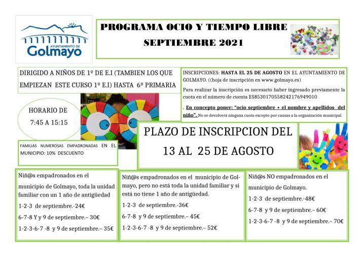 Abierto el periodo de inscripción para el programa de Ocio y Tiempo Libre de septiembre en Golmayo | Imagen 1