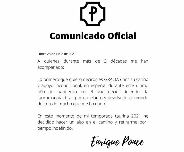 Comunicado oficial de Enrique Ponce