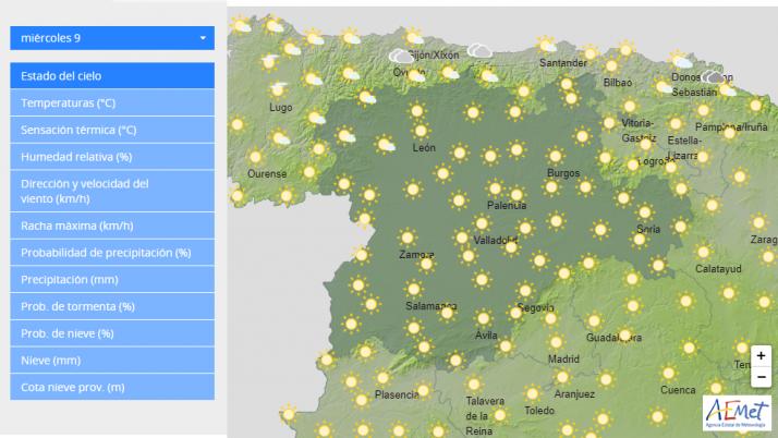 Previsión meteorológica para el 10 de junio a las 12:00 horas.