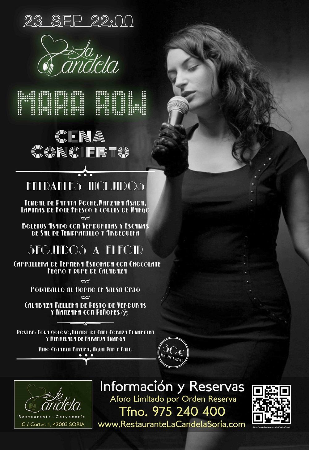 Cena concierto con Mara Row este sábado en La Candela | Imagen 1